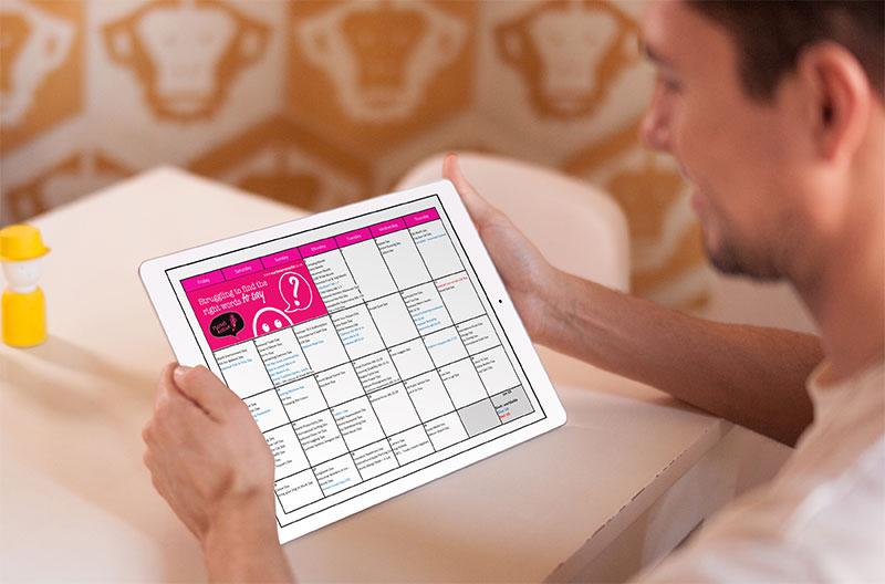 Business owner looking at social media calendar for June 2020