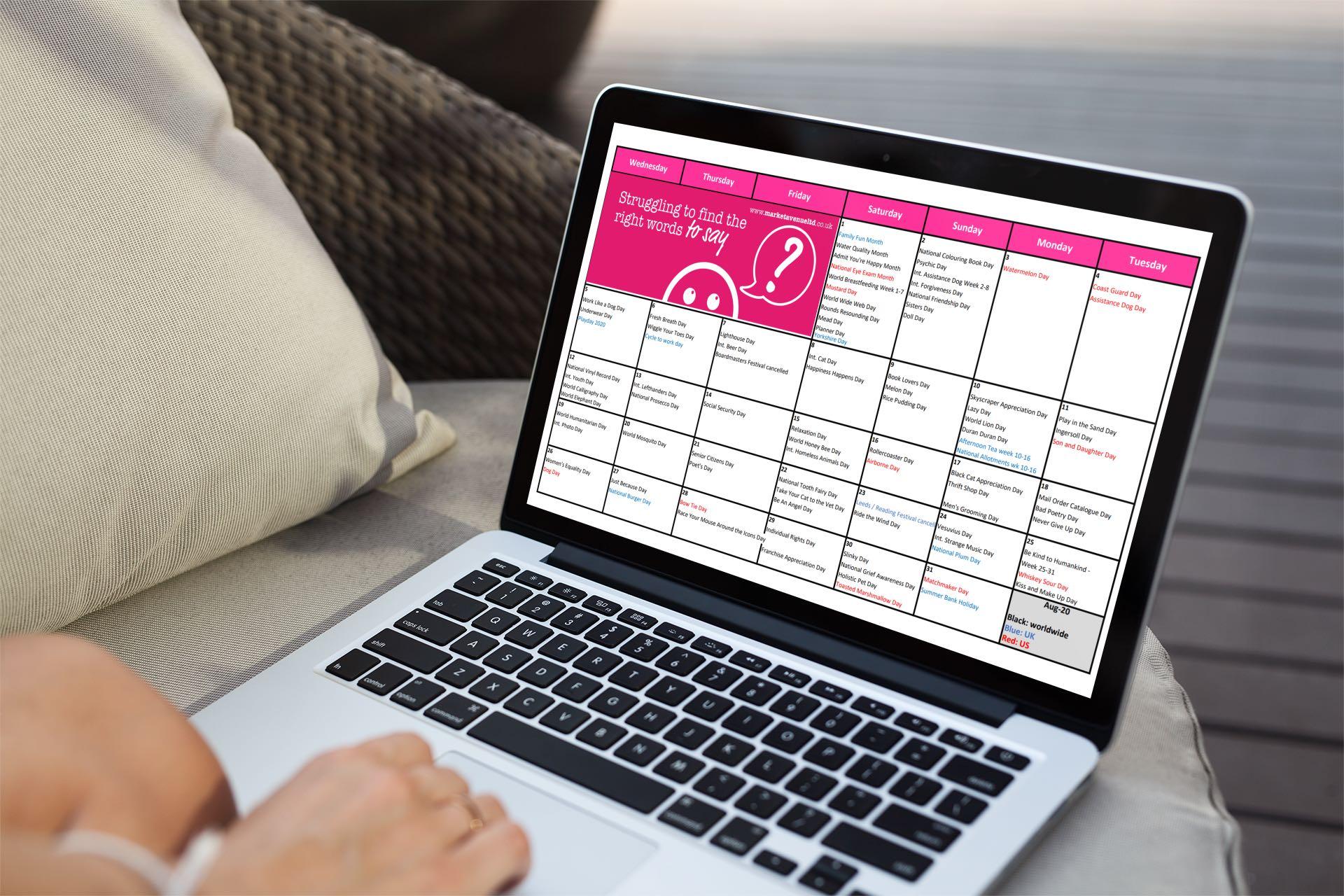 Business owner looking at August 2020 social media planner calendar on Macbook