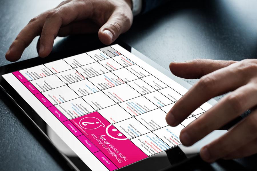 October social media calendar for October 2020 on an ipad