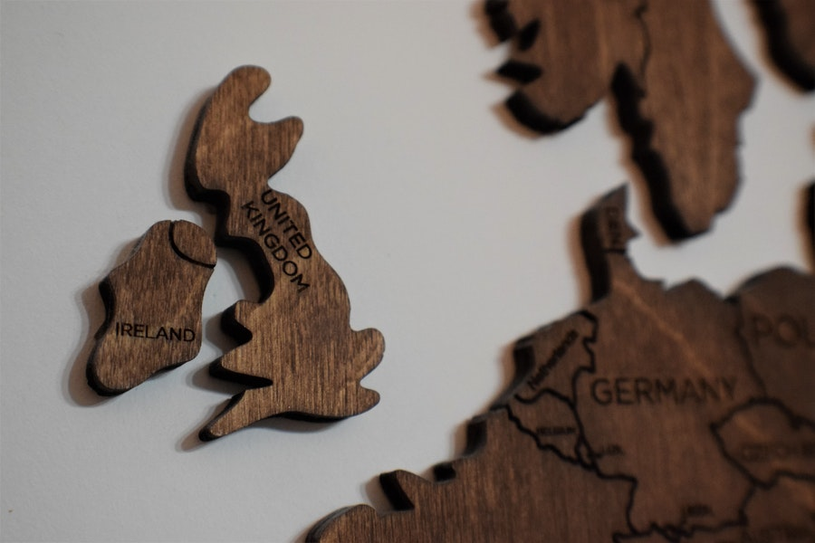 Wooden map showing UK and part of Europe